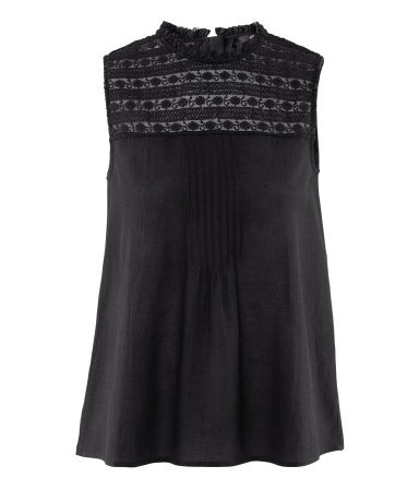Sleeveless Blouse - sleeve style: sleeveless; neckline: high neck; style: blouse; bust detail: subtle bust detail; predominant colour: black; occasions: casual, evening, work; length: standard; fibres: cotton - mix; fit: empire; sleeve length: sleeveless; texture group: lace; pattern type: fabric; pattern size: standard; pattern: patterned/print; season: s/s 2013; wardrobe: highlight