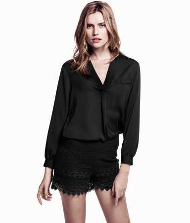 Blouse - pattern: plain; bust detail: pocket detail at bust; style: blouse; predominant colour: black; occasions: casual, evening, work; length: standard; neckline: collarstand & mandarin with v-neck; fibres: polyester/polyamide - 100%; fit: loose; sleeve length: long sleeve; sleeve style: standard; texture group: crepes; pattern type: fabric; pattern size: standard; season: s/s 2013