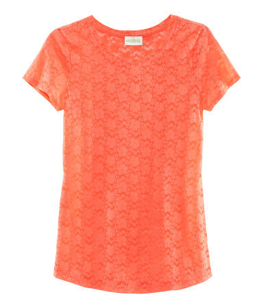 Top - neckline: round neck; style: t-shirt; predominant colour: coral; occasions: casual, work; length: standard; fibres: polyester/polyamide - mix; fit: straight cut; sleeve length: short sleeve; sleeve style: standard; texture group: lace; pattern type: fabric; pattern: patterned/print; embellishment: embroidered; season: s/s 2013