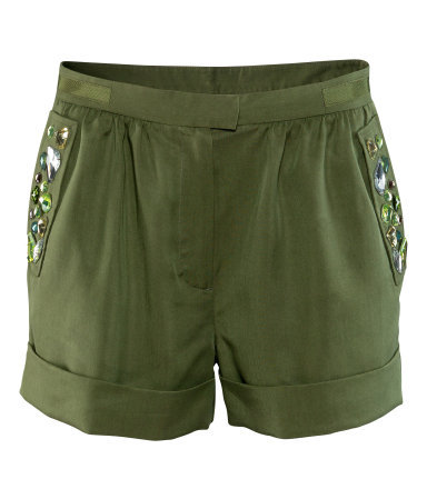 Shorts - pattern: plain; pocket detail: pockets at the sides; waist: mid/regular rise; predominant colour: khaki; occasions: casual, evening, holiday; fibres: polyester/polyamide - 100%; texture group: crepes; pattern type: fabric; embellishment: beading; season: s/s 2013; pattern size: light/subtle (bottom); style: shorts; length: short shorts; fit: slim leg; wardrobe: highlight; embellishment location: hip