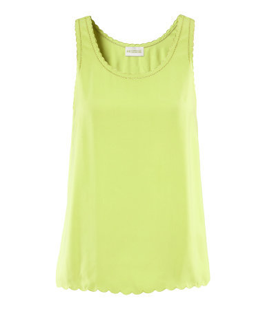 Top - pattern: plain; sleeve style: sleeveless; predominant colour: lime; occasions: casual, evening, holiday; length: standard; style: top; neckline: scoop; fibres: polyester/polyamide - 100%; fit: straight cut; sleeve length: sleeveless; texture group: sheer fabrics/chiffon/organza etc.; trends: fluorescent; pattern type: fabric; pattern size: standard; season: s/s 2013