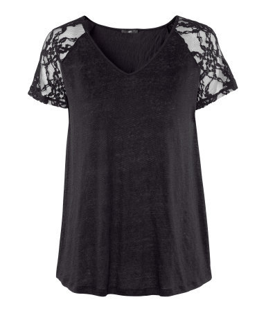 Linen Top - neckline: v-neck; style: t-shirt; shoulder detail: contrast pattern/fabric at shoulder; predominant colour: black; occasions: casual, evening, work; length: standard; fibres: linen - 100%; fit: straight cut; sleeve length: short sleeve; sleeve style: standard; texture group: lace; pattern type: fabric; pattern size: standard; pattern: patterned/print; season: s/s 2013