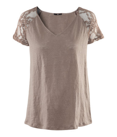 Linen Top - neckline: v-neck; style: t-shirt; shoulder detail: contrast pattern/fabric at shoulder; predominant colour: taupe; occasions: casual, evening, work; length: standard; fibres: linen - 100%; fit: straight cut; sleeve length: short sleeve; sleeve style: standard; texture group: lace; pattern type: fabric; pattern size: standard; pattern: patterned/print; season: s/s 2013