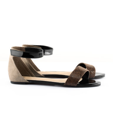 Sandals - predominant colour: chocolate brown; occasions: casual, holiday; material: fabric; heel height: flat; ankle detail: ankle strap; heel: standard; toe: open toe/peeptoe; style: standard; finish: plain; pattern: colourblock; season: s/s 2013