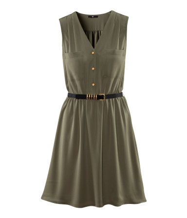 Dress - length: mid thigh; neckline: v-neck; fit: fitted at waist; pattern: plain; sleeve style: sleeveless; bust detail: pocket detail at bust, buttons at bust (in middle at breastbone)/zip detail at bust; waist detail: flattering waist detail, belted waist/tie at waist/drawstring; predominant colour: khaki; occasions: casual, evening; style: fit & flare; fibres: polyester/polyamide - 100%; sleeve length: sleeveless; trends: volume; pattern type: fabric; texture group: other - light to midweight; season: s/s 2013