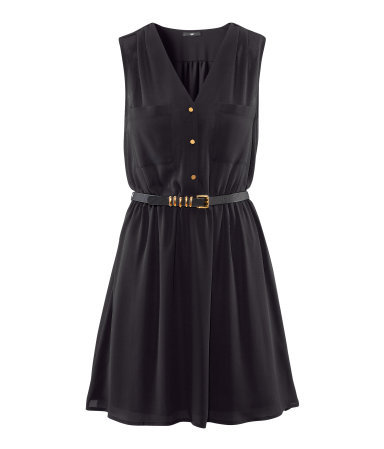 Dress - length: mid thigh; neckline: low v-neck; fit: fitted at waist; pattern: plain; sleeve style: sleeveless; bust detail: pocket detail at bust, buttons at bust (in middle at breastbone)/zip detail at bust; waist detail: twist front waist detail/nipped in at waist on one side/soft pleats/draping/ruching/gathering waist detail, belted waist/tie at waist/drawstring; predominant colour: black; occasions: casual, evening; style: fit & flare; fibres: polyester/polyamide - 100%; sleeve length: sleeveless; trends: volume; pattern type: fabric; texture group: jersey - stretchy/drapey; season: s/s 2013
