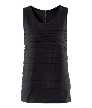 Top - neckline: round neck; pattern: plain; sleeve style: sleeveless; predominant colour: black; occasions: casual, evening, work; length: standard; style: top; fibres: polyester/polyamide - 100%; fit: straight cut; sleeve length: sleeveless; bust detail: tiers/frills/bulky drapes/pleats; pattern type: fabric; pattern size: standard; texture group: jersey - stretchy/drapey; season: s/s 2013