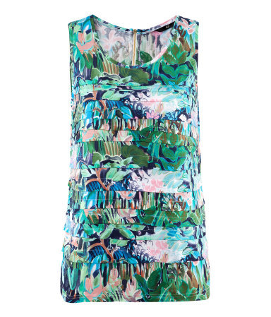 Top - sleeve style: wide vest straps; style: vest top; occasions: casual, holiday; length: standard; neckline: scoop; fibres: polyester/polyamide - 100%; fit: straight cut; predominant colour: multicoloured; sleeve length: sleeveless; trends: statement prints; pattern type: fabric; pattern: florals; texture group: jersey - stretchy/drapey; season: s/s 2013; pattern size: big & busy (top); multicoloured: multicoloured