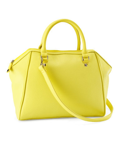 Bag - predominant colour: primrose yellow; occasions: casual, work; type of pattern: standard; style: tote; length: handle; size: standard; material: faux leather; pattern: plain; trends: fluorescent; finish: plain; season: s/s 2013
