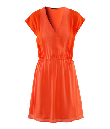 Dress - style: faux wrap/wrap; length: mid thigh; neckline: low v-neck; sleeve style: dolman/batwing; fit: fitted at waist; pattern: plain; waist detail: elasticated waist, flattering waist detail; predominant colour: bright orange; occasions: casual, evening, holiday; fibres: polyester/polyamide - 100%; sleeve length: short sleeve; texture group: sheer fabrics/chiffon/organza etc.; trends: fluorescent; pattern type: fabric; pattern size: standard; season: s/s 2013