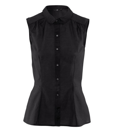 Blouse - neckline: shirt collar/peter pan/zip with opening; pattern: plain; sleeve style: sleeveless; waist detail: fitted waist; style: shirt; bust detail: buttons at bust (in middle at breastbone)/zip detail at bust; predominant colour: black; occasions: casual, work; length: standard; fibres: cotton - mix; fit: body skimming; shoulder detail: subtle shoulder detail; sleeve length: sleeveless; texture group: cotton feel fabrics; pattern type: fabric; pattern size: standard; season: s/s 2013