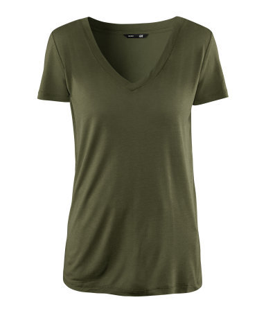 Top - neckline: low v-neck; pattern: plain; style: t-shirt; predominant colour: khaki; occasions: casual; length: standard; fibres: polyester/polyamide - 100%; fit: body skimming; sleeve length: short sleeve; sleeve style: standard; pattern type: fabric; pattern size: standard; texture group: jersey - stretchy/drapey; season: s/s 2013