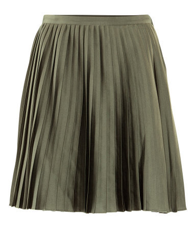 Skirt - pattern: plain; fit: loose/voluminous; style: pleated; waist detail: fitted waist; waist: mid/regular rise; predominant colour: khaki; occasions: casual, evening; length: just above the knee; fibres: polyester/polyamide - 100%; hip detail: adds bulk at the hips, subtle/flattering hip detail; texture group: structured shiny - satin/tafetta/silk etc.; trends: volume; pattern type: fabric; season: s/s 2013; pattern size: standard (bottom)