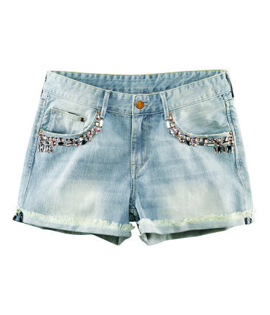 Denim Shorts - pattern: plain; pocket detail: pockets at the sides, traditional 5 pocket; waist: mid/regular rise; predominant colour: denim; occasions: casual, evening, holiday; fibres: cotton - 100%; hip detail: added detail/embellishment at hip; texture group: denim; pattern type: fabric; embellishment: beading; season: s/s 2013; pattern size: light/subtle (bottom); style: denim; length: short shorts; fit: slim leg