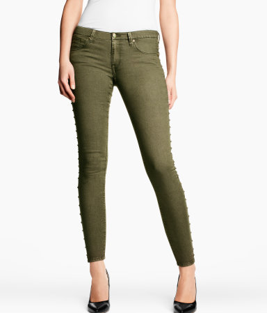 Skinny Low Jeans - style: skinny leg; pattern: plain; pocket detail: traditional 5 pocket; waist: mid/regular rise; predominant colour: khaki; occasions: casual, evening; length: ankle length; fibres: cotton - mix; texture group: denim; pattern type: fabric; season: s/s 2013; pattern size: standard (bottom)