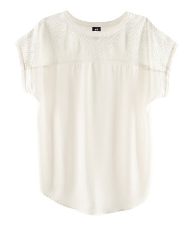 Blouse - neckline: round neck; pattern: plain; length: below the bottom; shoulder detail: contrast pattern/fabric at shoulder; predominant colour: ivory/cream; occasions: casual, evening; style: top; fibres: polyester/polyamide - 100%; fit: loose; bust detail: contrast pattern/fabric/detail at bust; sleeve length: short sleeve; sleeve style: standard; texture group: sheer fabrics/chiffon/organza etc.; pattern type: fabric; pattern size: standard; season: s/s 2013