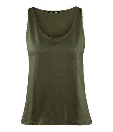 Top - pattern: plain; sleeve style: sleeveless; style: vest top; predominant colour: khaki; occasions: casual, holiday; length: standard; neckline: scoop; fibres: cotton - 100%; fit: body skimming; sleeve length: sleeveless; pattern type: fabric; texture group: jersey - stretchy/drapey; season: s/s 2013