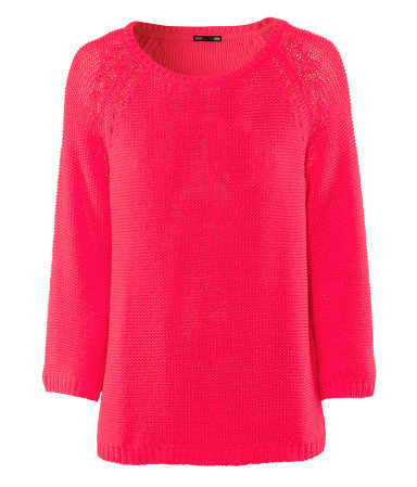 Jumper - neckline: round neck; pattern: plain; style: standard; predominant colour: hot pink; occasions: casual; length: standard; fibres: acrylic - 100%; fit: loose; sleeve length: 3/4 length; sleeve style: standard; texture group: knits/crochet; trends: fluorescent; pattern type: knitted - other; pattern size: standard; season: s/s 2013