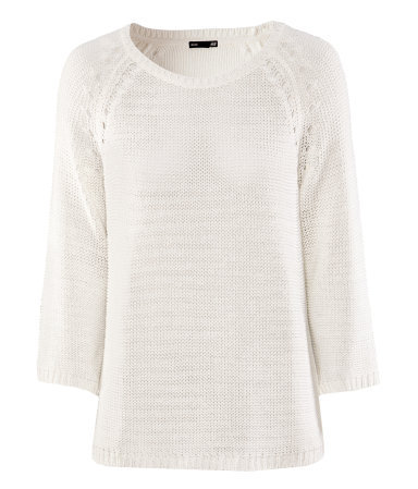 Jumper - neckline: round neck; sleeve style: dolman/batwing; pattern: plain; style: standard; predominant colour: ivory/cream; occasions: casual, work; length: standard; fibres: acrylic - 100%; fit: loose; sleeve length: 3/4 length; texture group: knits/crochet; pattern type: knitted - other; pattern size: standard; season: s/s 2013