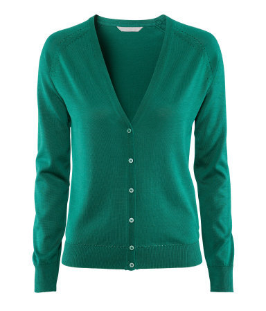 Cardigan - neckline: low v-neck; pattern: plain; bust detail: buttons at bust (in middle at breastbone)/zip detail at bust; predominant colour: emerald green; occasions: casual, work; length: standard; style: standard; fibres: silk - mix; fit: standard fit; sleeve length: long sleeve; sleeve style: standard; texture group: knits/crochet; pattern type: fabric; pattern size: standard; season: s/s 2013