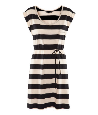 Dress - style: t-shirt; length: mid thigh; sleeve style: capped; fit: loose; pattern: horizontal stripes; bust detail: pocket detail at bust; waist detail: belted waist/tie at waist/drawstring; predominant colour: black; occasions: casual; neckline: scoop; fibres: cotton - 100%; sleeve length: short sleeve; pattern type: fabric; pattern size: standard; texture group: jersey - stretchy/drapey; season: s/s 2013