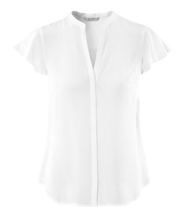 Silk Blouse - pattern: plain; style: blouse; predominant colour: white; occasions: casual, evening, work; length: standard; neckline: collarstand & mandarin with v-neck; fibres: silk - 100%; fit: straight cut; sleeve length: short sleeve; sleeve style: standard; texture group: silky - light; pattern type: fabric; pattern size: standard; season: s/s 2013