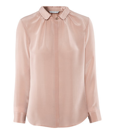 Silk Blouse - neckline: shirt collar/peter pan/zip with opening; pattern: plain; style: blouse; predominant colour: blush; occasions: casual, evening, work, occasion; length: standard; fibres: silk - 100%; fit: straight cut; sleeve length: long sleeve; sleeve style: standard; texture group: silky - light; pattern type: fabric; pattern size: standard; season: s/s 2013