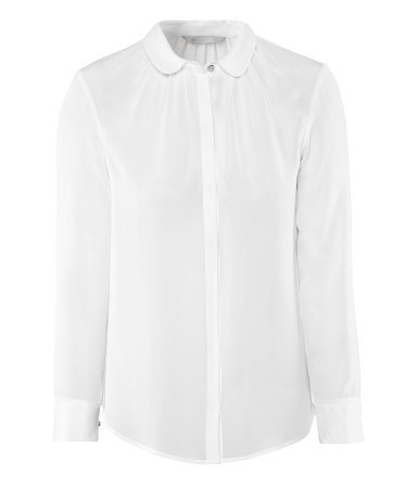 Silk Blouse - neckline: shirt collar/peter pan/zip with opening; pattern: plain; style: blouse; bust detail: subtle bust detail; predominant colour: white; occasions: casual, evening, work; length: standard; fibres: silk - 100%; fit: straight cut; sleeve length: long sleeve; sleeve style: standard; texture group: silky - light; pattern type: fabric; season: s/s 2013; wardrobe: basic