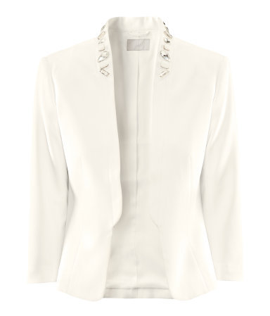 Jacket - style: single breasted blazer; bust detail: added detail/embellishment at bust; collar: shawl/waterfall; fit: slim fit; predominant colour: ivory/cream; occasions: evening, occasion; length: standard; fibres: polyester/polyamide - stretch; sleeve length: 3/4 length; sleeve style: standard; texture group: crepes; collar break: low/open; pattern type: fabric; pattern size: light/subtle; embellishment: beading; season: s/s 2013