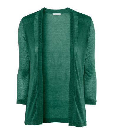 Cardigan - pattern: plain; neckline: collarless open; style: open front; predominant colour: emerald green; occasions: casual, work; length: standard; fibres: polyester/polyamide - 100%; fit: standard fit; sleeve length: 3/4 length; sleeve style: standard; texture group: knits/crochet; pattern type: knitted - fine stitch; pattern size: standard; season: s/s 2013