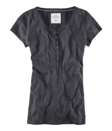 Top - neckline: round neck; pattern: plain; style: t-shirt; bust detail: buttons at bust (in middle at breastbone)/zip detail at bust; predominant colour: charcoal; occasions: casual; length: standard; fibres: cotton - mix; fit: straight cut; sleeve length: short sleeve; sleeve style: standard; pattern type: fabric; pattern size: standard; texture group: jersey - stretchy/drapey; season: s/s 2013