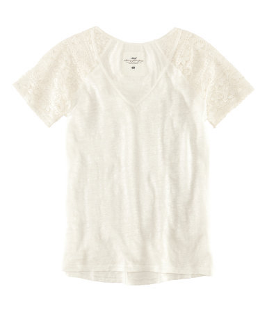 Top - neckline: v-neck; style: t-shirt; shoulder detail: contrast pattern/fabric at shoulder; predominant colour: ivory/cream; occasions: casual, work, holiday; length: standard; fibres: linen - 100%; fit: body skimming; sleeve length: short sleeve; sleeve style: standard; texture group: lace; pattern type: fabric; pattern size: light/subtle; season: s/s 2013