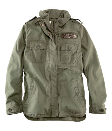 Jacket - pattern: plain; bust detail: added detail/embellishment at bust; fit: loose; length: below the bottom; collar: high neck; style: boxy; predominant colour: khaki; occasions: casual; fibres: cotton - 100%; shoulder detail: discreet epaulette; sleeve length: long sleeve; sleeve style: standard; collar break: high; pattern type: fabric; texture group: other - light to midweight; season: s/s 2013