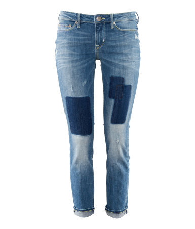 Jeans - pattern: plain, patterned/print; pocket detail: traditional 5 pocket; style: slim leg; waist: mid/regular rise; predominant colour: denim; occasions: casual; length: ankle length; fibres: cotton - stretch; jeans detail: whiskering, shading down centre of thigh, washed/faded; jeans & bottoms detail: turn ups; texture group: denim; pattern type: fabric; season: s/s 2013; pattern size: standard (bottom)