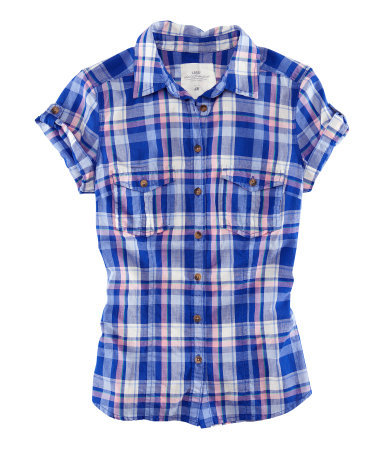 Shirt - neckline: shirt collar/peter pan/zip with opening; pattern: checked/gingham; style: shirt; predominant colour: royal blue; occasions: casual, holiday; length: standard; fibres: cotton - 100%; fit: straight cut; sleeve length: short sleeve; sleeve style: standard; pattern type: fabric; pattern size: standard; texture group: other - light to midweight; season: s/s 2013