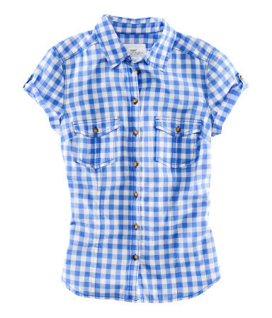 Shirt - neckline: shirt collar/peter pan/zip with opening; pattern: checked/gingham; style: shirt; bust detail: pocket detail at bust; predominant colour: royal blue; occasions: casual; length: standard; fibres: cotton - 100%; fit: straight cut; sleeve length: short sleeve; sleeve style: standard; texture group: cotton feel fabrics; pattern type: fabric; pattern size: standard; season: s/s 2013