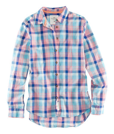 Shirt - neckline: shirt collar/peter pan/zip with opening; pattern: checked/gingham; style: shirt; predominant colour: pale blue; occasions: casual; length: standard; fibres: cotton - 100%; fit: straight cut; sleeve length: long sleeve; sleeve style: standard; texture group: cotton feel fabrics; pattern type: fabric; pattern size: standard; season: s/s 2013