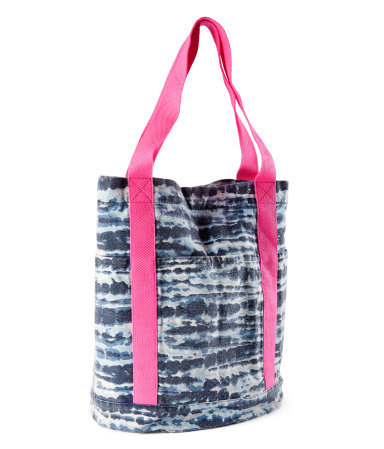 Bag - predominant colour: navy; occasions: casual, holiday; type of pattern: standard; style: shoulder; length: shoulder (tucks under arm); size: standard; material: fabric; pattern: tie dye, patterned/print; finish: plain; season: s/s 2013