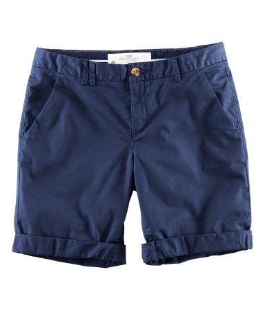 Shorts - pattern: plain; pocket detail: pockets at the sides; waist: mid/regular rise; predominant colour: navy; occasions: casual, holiday; fibres: cotton - stretch; waist detail: feature waist detail; texture group: cotton feel fabrics; pattern type: knitted - fine stitch; season: s/s 2013; pattern size: standard (bottom); style: shorts; length: mid thigh shorts; fit: slim leg