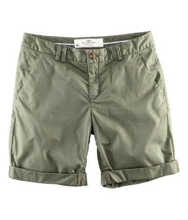 Shorts - pattern: plain; pocket detail: pockets at the sides; waist: mid/regular rise; predominant colour: khaki; occasions: casual, holiday; fibres: cotton - stretch; waist detail: feature waist detail; texture group: cotton feel fabrics; pattern type: knitted - fine stitch; season: s/s 2013; pattern size: standard (bottom); style: shorts; length: mid thigh shorts; fit: slim leg