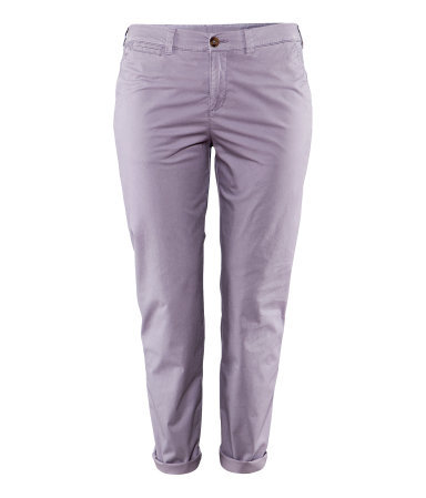+ Chinos - pattern: plain; waist: mid/regular rise; predominant colour: lilac; occasions: casual, holiday; length: ankle length; style: chino; fibres: cotton - stretch; jeans & bottoms detail: turn ups; texture group: cotton feel fabrics; fit: slim leg; pattern type: fabric; season: s/s 2013; pattern size: standard (bottom)