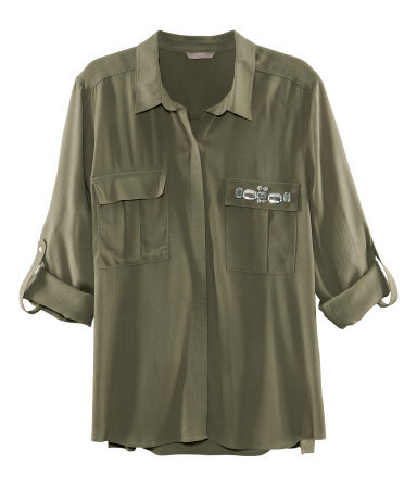 + Blouse - neckline: shirt collar/peter pan/zip with opening; bust detail: added detail/embellishment at bust, pocket detail at bust; length: below the bottom; style: blouse; predominant colour: khaki; occasions: casual, evening; fibres: polyester/polyamide - 100%; fit: loose; sleeve length: 3/4 length; sleeve style: standard; texture group: crepes; pattern type: fabric; pattern size: light/subtle; embellishment: beading; season: s/s 2013