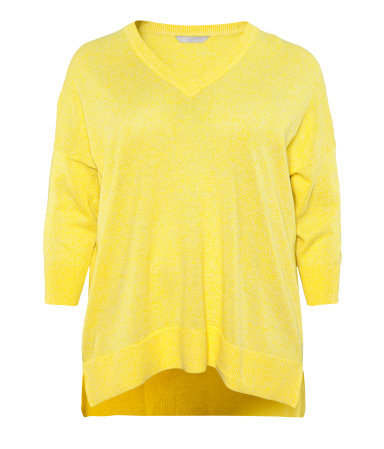+ Jumper - neckline: v-neck; sleeve style: dolman/batwing; pattern: plain; style: standard; predominant colour: yellow; occasions: casual; length: standard; fibres: linen - mix; fit: loose; back detail: longer hem at back than at front; sleeve length: 3/4 length; texture group: knits/crochet; pattern type: knitted - fine stitch; pattern size: standard; season: s/s 2013