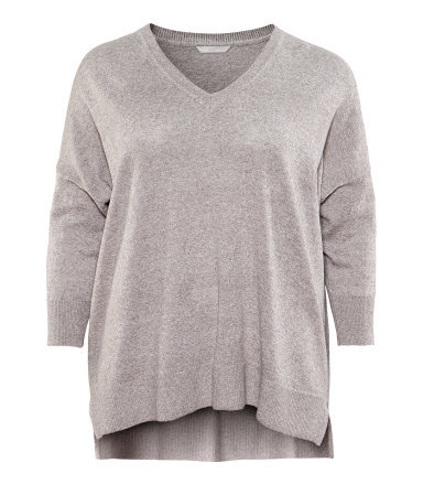 + Jumper - neckline: v-neck; sleeve style: dolman/batwing; pattern: plain; predominant colour: mid grey; occasions: casual; length: standard; style: a-line; fibres: linen - mix; fit: loose; back detail: longer hem at back than at front; sleeve length: 3/4 length; texture group: knits/crochet; pattern type: knitted - fine stitch; pattern size: standard; season: s/s 2013