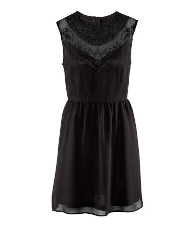 Dress - length: mid thigh; neckline: round neck; fit: fitted at waist; pattern: plain, patterned/print; sleeve style: sleeveless; style: blouson; bust detail: added detail/embellishment at bust, contrast pattern/fabric/detail at bust; waist detail: elasticated waist, flattering waist detail; predominant colour: black; occasions: casual, evening, occasion; fibres: polyester/polyamide - 100%; hip detail: subtle/flattering hip detail; sleeve length: sleeveless; texture group: sheer fabrics/chiffon/organza etc.; pattern type: fabric; pattern size: standard; season: s/s 2013