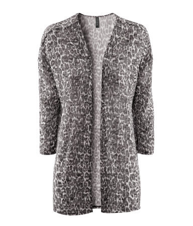 Cardigan - length: below the bottom; neckline: collarless open; style: open front; predominant colour: mid grey; occasions: casual, evening; fibres: polyester/polyamide - mix; fit: loose; sleeve length: 3/4 length; sleeve style: standard; texture group: knits/crochet; trends: volume; pattern type: knitted - other; pattern size: standard; pattern: animal print, patterned/print; season: s/s 2013