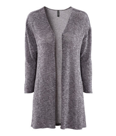 Cardigan - length: below the bottom; neckline: collarless open; style: open front; predominant colour: charcoal; occasions: casual, work; fibres: polyester/polyamide - stretch; fit: loose; sleeve length: 3/4 length; sleeve style: standard; texture group: knits/crochet; trends: volume; pattern type: knitted - other; pattern size: light/subtle; pattern: patterned/print; season: s/s 2013