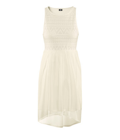 Dress - style: shift; neckline: round neck; fit: empire; sleeve style: sleeveless; waist detail: elasticated waist, fitted waist; predominant colour: ivory/cream; occasions: casual, evening, occasion; length: just above the knee; fibres: polyester/polyamide - 100%; hip detail: subtle/flattering hip detail; back detail: longer hem at back than at front; sleeve length: sleeveless; texture group: sheer fabrics/chiffon/organza etc.; pattern type: fabric; pattern size: standard; pattern: patterned/print; season: s/s 2013