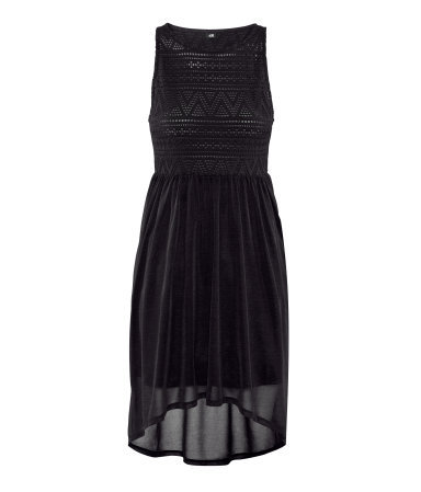 Dress - style: shift; neckline: round neck; fit: empire; sleeve style: sleeveless; waist detail: flattering waist detail; predominant colour: black; occasions: evening; length: just above the knee; fibres: polyester/polyamide - 100%; hip detail: subtle/flattering hip detail; back detail: longer hem at back than at front; sleeve length: sleeveless; texture group: sheer fabrics/chiffon/organza etc.; pattern type: fabric; pattern size: light/subtle; pattern: patterned/print; season: s/s 2013; wardrobe: event; embellishment: contrast fabric; embellishment location: top