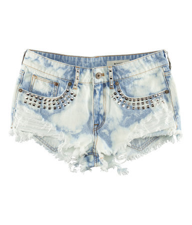 Denim Shorts - pattern: plain; pocket detail: traditional 5 pocket; waist: mid/regular rise; predominant colour: pale blue; occasions: casual, evening, holiday; fibres: cotton - 100%; texture group: denim; pattern type: fabric; embellishment: beading; season: s/s 2013; pattern size: light/subtle (bottom); style: denim; length: short shorts; fit: slim leg; wardrobe: highlight; embellishment location: hip